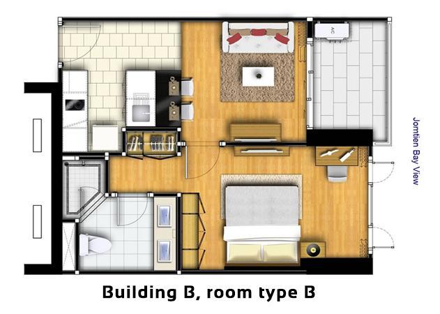 Condo for sale peak towers pattaya condominium for Studio type condo floor plan